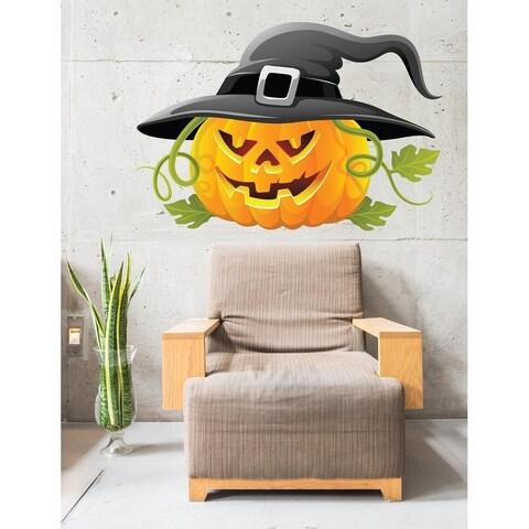 "Pumpkin Hat Haloween Full Color Wall Decal Sticker K-215 FRST Size 52""x52"""