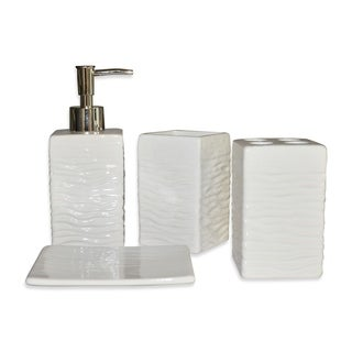 4 Piece Ceramic Modern Bathroom Accessory Set