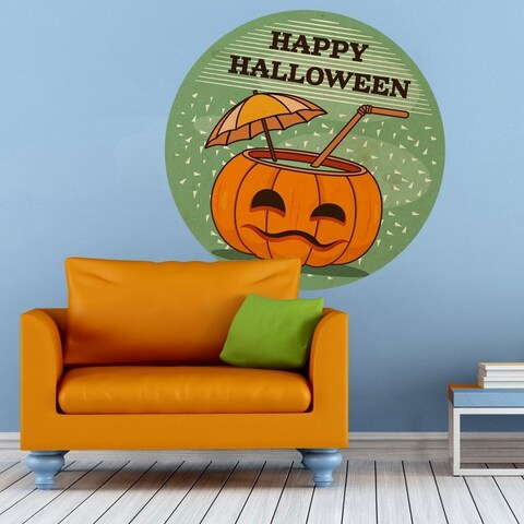 """Pumpkin Coctail Haloween Full Color Wall Decal Sticker K-371 FRST Size 20""""x20"""""""