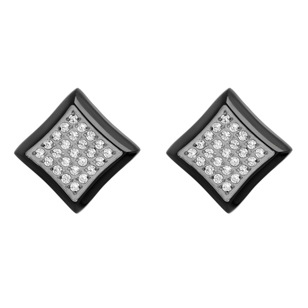 Men X27 S Black Stainless Steel White Cubic Zirconia Mens Square Stud Earrings