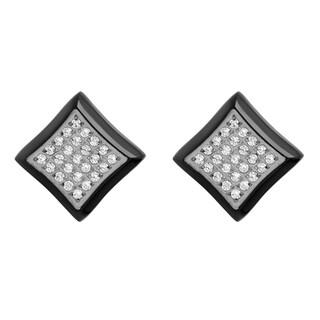 Men's Black Stainless Steel White Cubic Zirconia - Mens Square Stud Earrings
