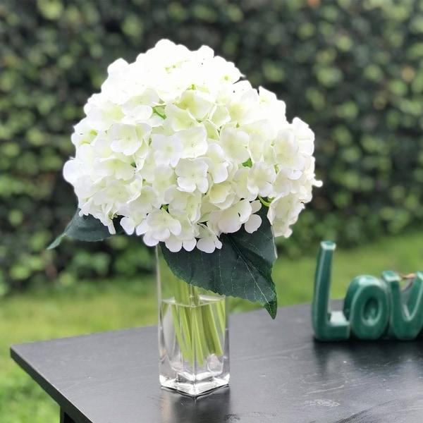 Enova Home Artificial Hydrangea Flower Bouquet with Glass Vase