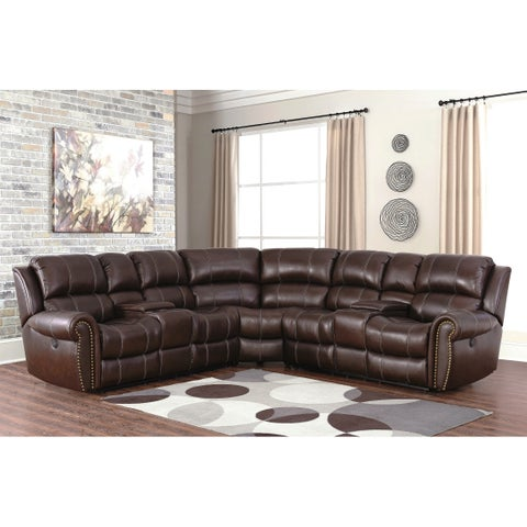 Abbyson Channing Leather Sectional