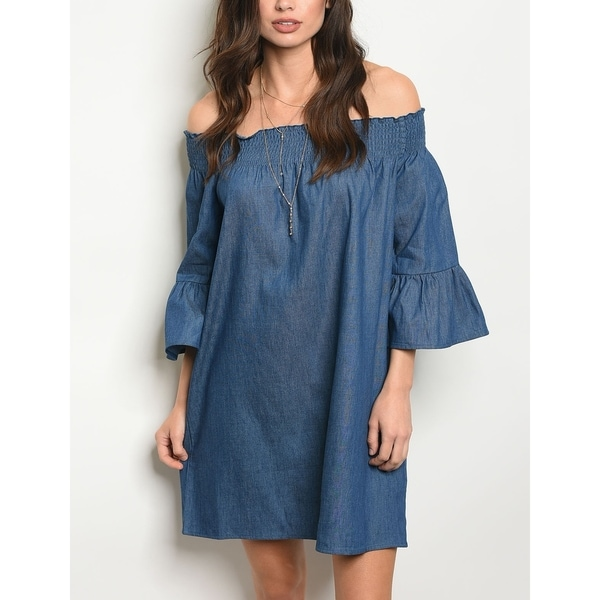 c95d3e590b9a Shop JED Women s Off Shoulder Bell Sleeve Denim Tunic Dress - Ships ...