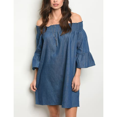 JED Women's Off Shoulder Bell Sleeve Denim Tunic Dress