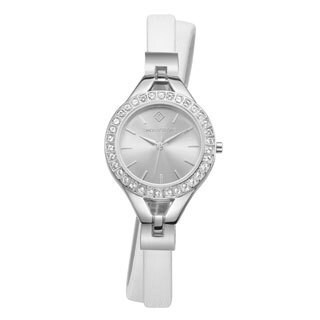 Women's 'Joliet Crystal Accented Quartz Double Wrapped Vegan Leather Strap Watch Set by Timothy Stone
