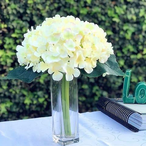 Enova Home Blush Artificial Hydrangea Flower Bouquet with Glass Vase