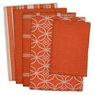Design Imports Assorted Dishtowel & Dishcloth Set of 5 (DT: 28 inches long x 18 inches wide;DC: 13 inches long x 13 inches wide)