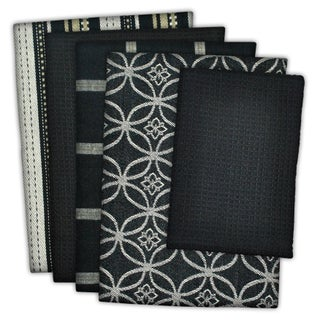 Design Imports Assorted Dishtowel & Dishcloth Set of 5 (DT: 28 inches long x 18 inches wide;DC: 13 inches long x 13 inches wide) (Option: Black)