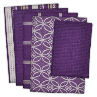 Design Imports Assorted Dishtowel & Dishcloth Set of 5 (DT: 28 inches long x 18 inches wide;DC: 13 inches long x 13 inches wide) (Option: eggplant)