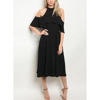 JED Women's Cold Shoulder Halter Black Midi Dress
