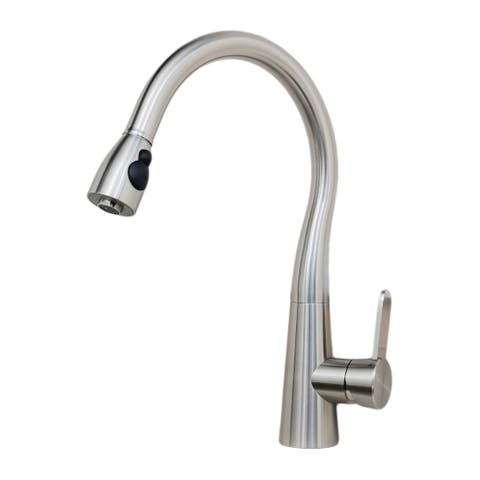 Wells Sinkware 309001 Alessio 17-Inch All Stainless Steel Lead-Free Single-Handle Pull-Down Kitchen Faucet Designed in Italy