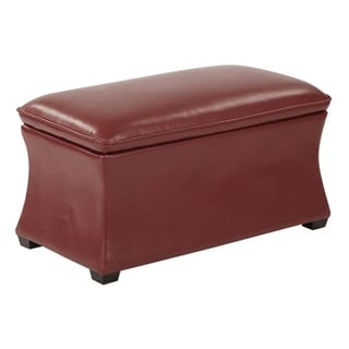 OSP Home Furnishings Hourglass Bonded Leather Mid-Century Storage Ottoman