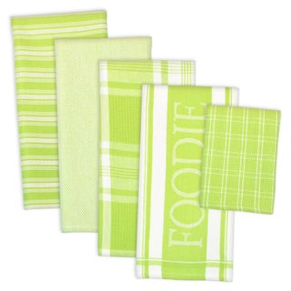 Design Imports Assorted Foodie Dishtowel & Dishcloth Set of 5 (DT: 28 inch long x 18 inch wide; DC: 13 inch long x 13 inch wide)