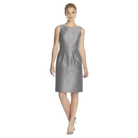 Alfred Sung Dupioni Low Back Sleeveless Cocktail Length Dress
