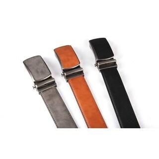 Men's Leather Automatic Buckle Ratchet Dress Belt