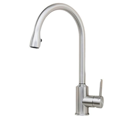 Wells Sinkware 309003 Cario 16-inch All Stainless Steel Lead-Free Pull-Down Kitchen Faucet Designed in Italy