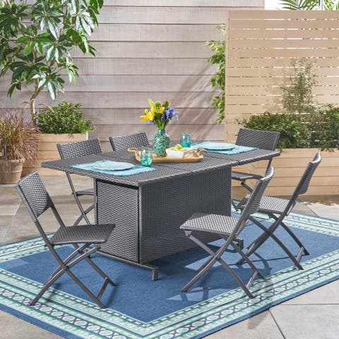 Maldives Outdoor 7 Piece Foldable Dining Set by Christopher Knight Home