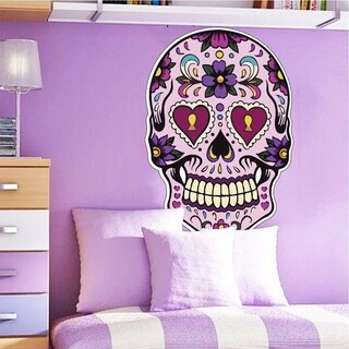 "Skull Dia De Los Muertos Full Color Wall Decal Sticker K-272 FRST Size 33""x40"""