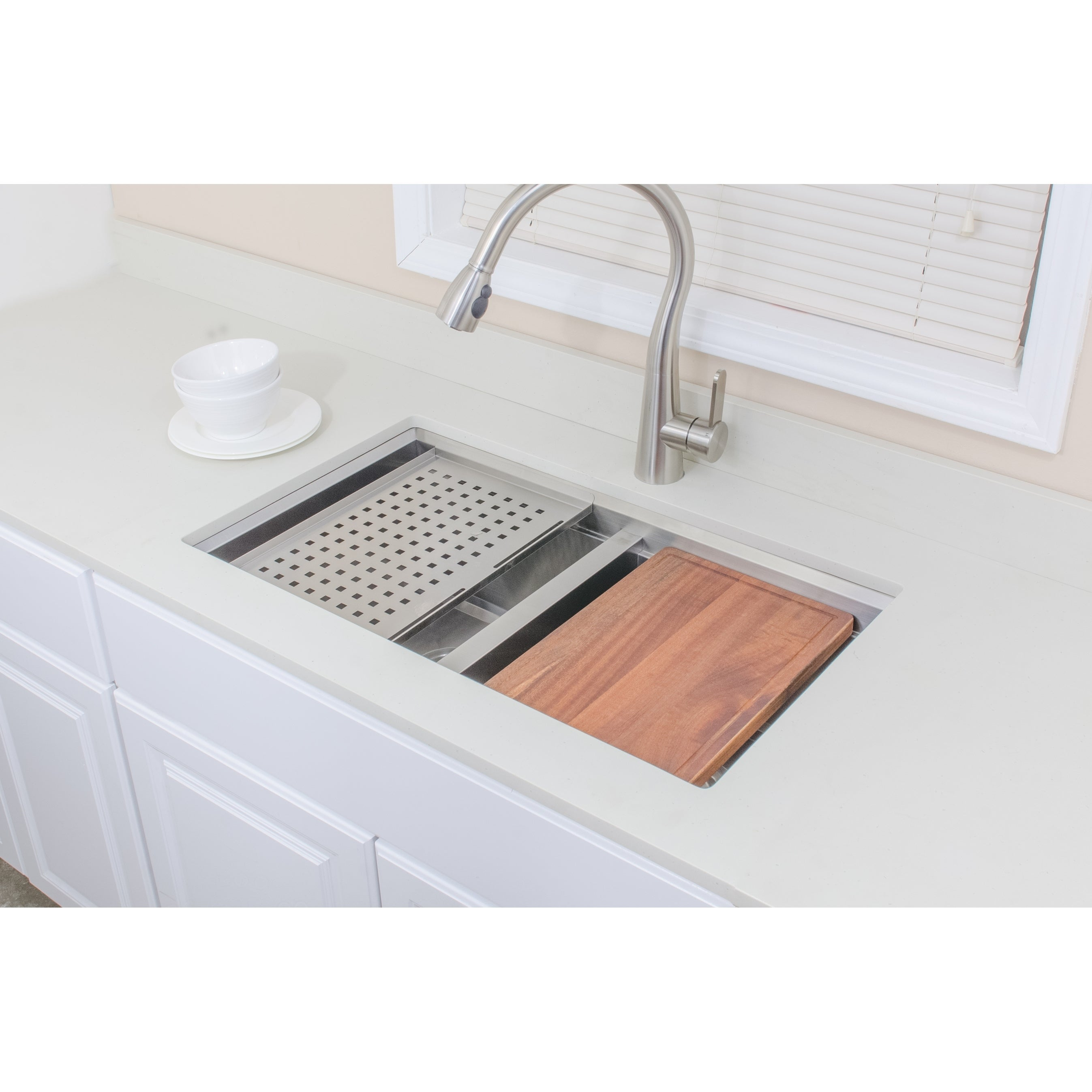 Wells Sinkware Series 32 Inch Undermount 50 Double Stainless Steel Kitchen Sink W Companion Colander And Cutting Board