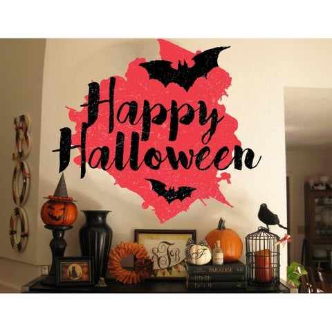 """Haloween Bats Lettering Full Color Wall Decal Sticker K-379 FRST Size 46""""x56"""""""