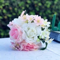 Enova Home Pink and White Mixed Artificial Flowers Bouquet with Vase