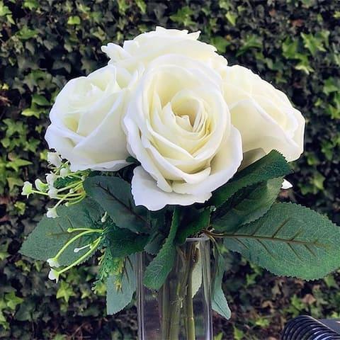 Enova Home Velvet Cream Rose Flower Bouquet 7 pieces with Vase