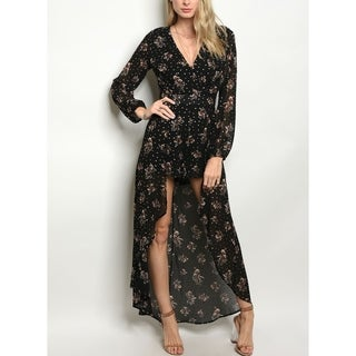 JED Women's Long Sleeve Black Floral Dress Romper