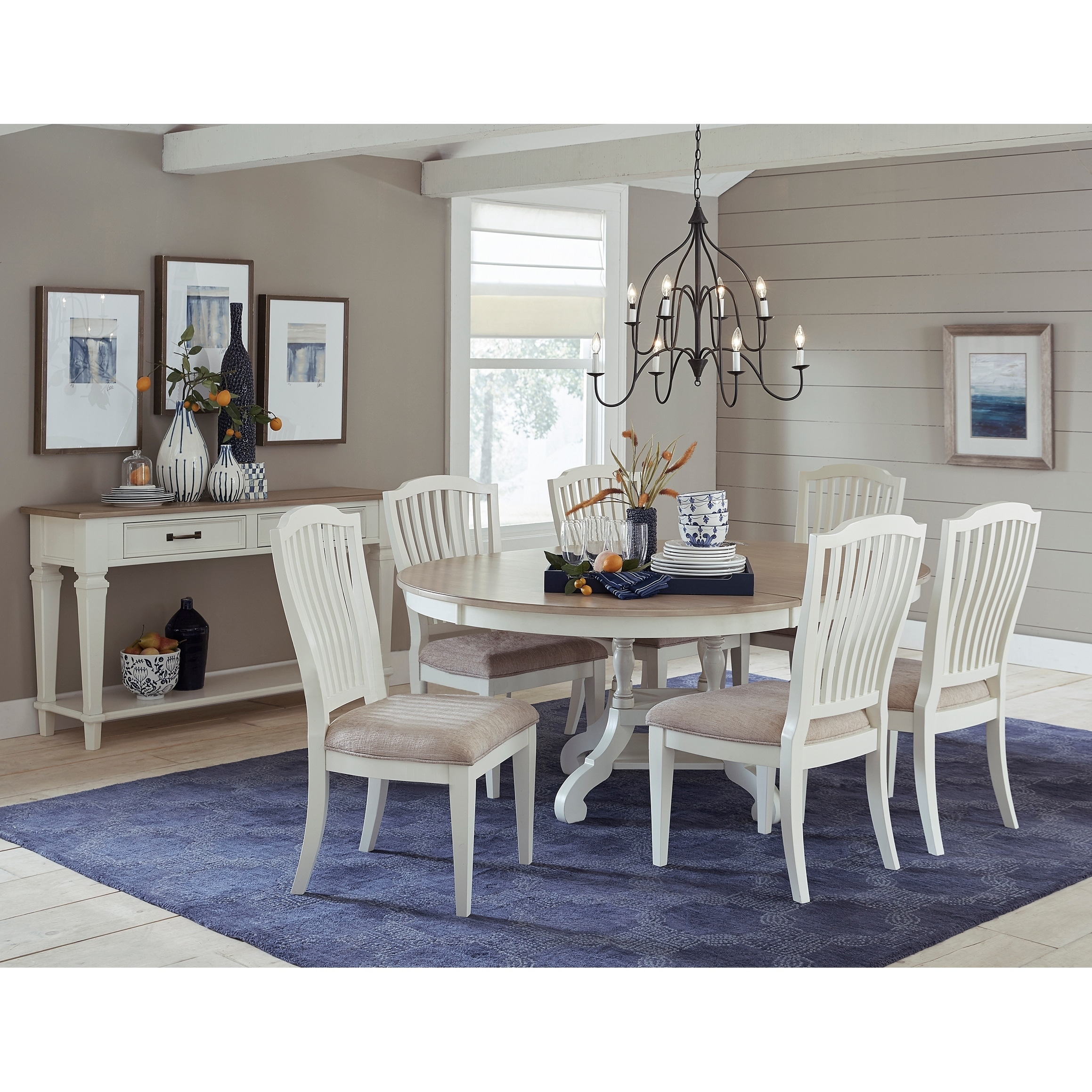 Hilale Rockport 7 Piece Round Oval Dining Table With Side Chairs