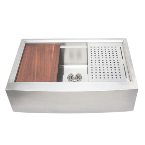 Wells Sinkware 3D Series 33-inch Single Apron Stainless Steel Kitchen Sink w/ Companion Colander and Cutting Board