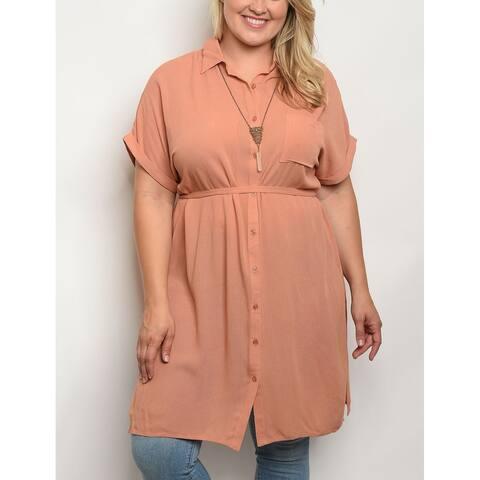 JED Women's Plus Size Long Length Button Down Tunic Shirt