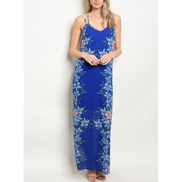JED Women's Floral Tank Chiffon Maxi Dress