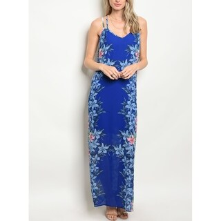 JED Women's Floral Tank Chiffon Maxi Dress