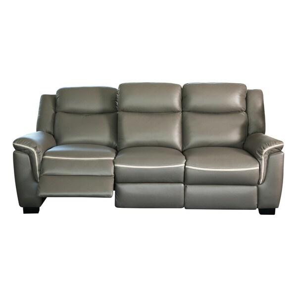 Shop Abbyson Stoneridge Grey Leather Power Sofa Free