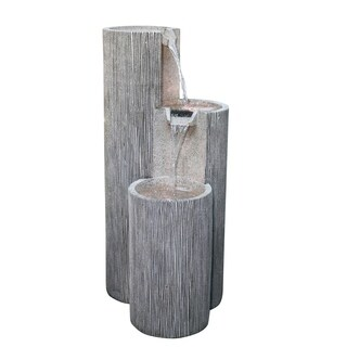 Alpine Modern Round Columns Fountain w/ LED Light, 41 Inch Tall