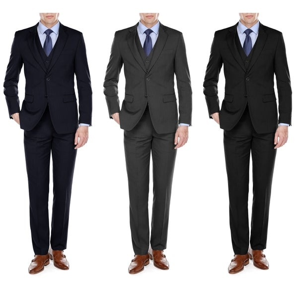 Fino Uomo Mens Light Herringbone Classic fit 3pc Suits