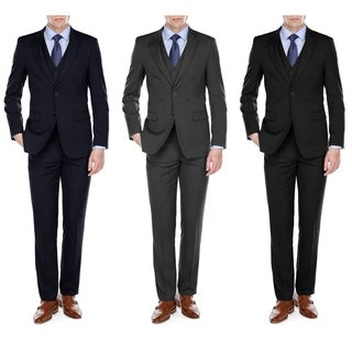 Fino Uomo Men's Light Herringbone Classic fit 3pc Suits