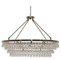 Celeste Extra Large Glass Drop Crystal Chandelier, Brass Finish