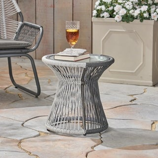 Idaho Outdoor Side Table with Tempered Glass Top by Christopher Knight Home