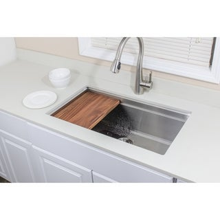 Wells Sinkware 3D Series 32-inch Undermount Single Bowl Stainless Steel Kitchen Sink w/ Companion Colander and Cutting Board
