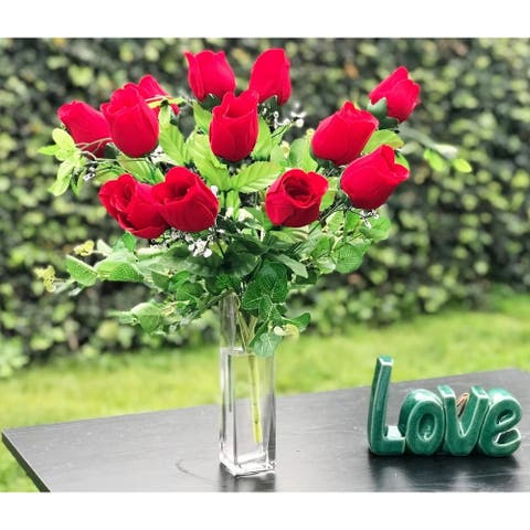 Enova Home Red Rose Arrangement 12 Pieces with Glass Vase