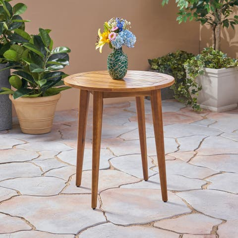 Stamford Outdoor Acacia Bistro Table with Straight Legs by Christopher Knight Home