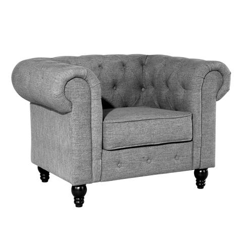 Poly and Bark Hendrick Chesterfield Armchair in Gray