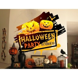 "Haloween Party Pumpkin Full Color Wall Decal Sticker K-378 FRST Size 46""x56"""