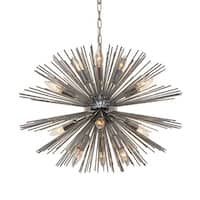 Sunburst 12 Light Chandelier, Chrome Finish