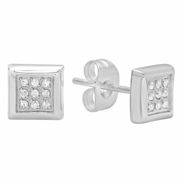 Men X27 S Stainless Steel Silver Tone Diamond Accent Mens Square Stud