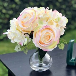 Enova Home Mixed Artifical Rose and Hydrangea Bouquet with Glass Vase