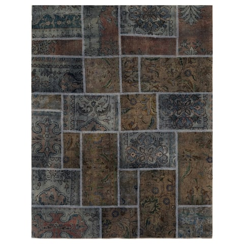 Handmade One-of-a-Kind Patchwork Wool Rug (Pakistan) - 4'10 x 6'4