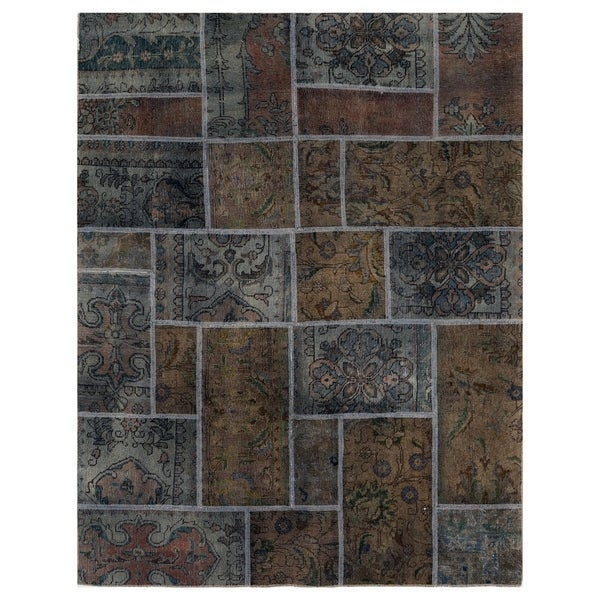 Handmade One-of-a-Kind Patchwork Wool Rug (Pakistan) - 4'10 x 6'4. Opens flyout.