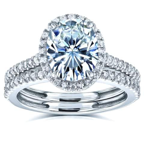 Annello by Kobelli 14k Gold 2 3/8ct TGW Moissanite and Diamond Oval Halo Bridal Rings Set (HI/VS, GH/I)